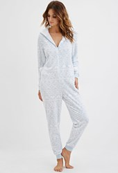 Forever 21 Hooded Fair Isle Plush Pj Jumpsuit Blue White
