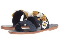 Soludos Embroidered Slide Flat Sandal Midnight Blue Leather Women's Sandals Navy