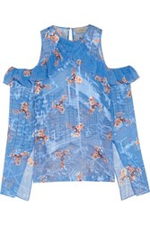 Preen By Thornton Bregazzi Reed Ruffled Cold Shoulder Printed Fil Coupe Top Blue