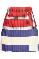 Suno Pleated Printed Faille Wrap Mini Skirt Purple