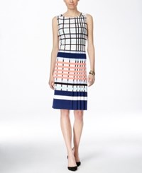 Inc International Concepts Pleated Plaid Shift Dress Only At Macy's White