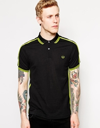 Fred Perry Soho Neon Polo With Neon Yellow Tape Slim Fit Black