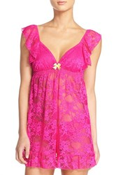 Women's Betsey Johnson Lace Babydoll Chemise Pink Scandal