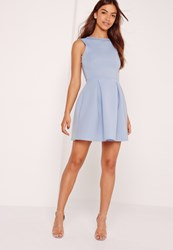 Missguided Scuba Low Back Skater Dress Powder Blue Blue