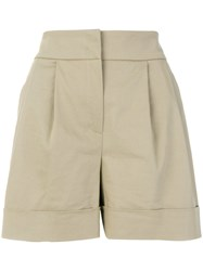 Alberta Ferretti High Waisted Wide Shorts Cotton Other Fibers Acetate Cupro Nude Neutrals
