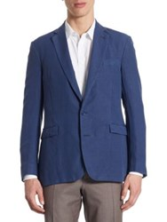 Ralph Lauren Purple Label Regular Fit Slub Silk And Linen Sportcoat Blue Denim