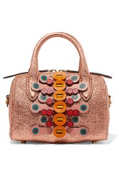 Anya Hindmarch Vere Mini Laser Cut Appliqued Metallic Textured Leather Tote Gold