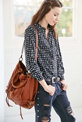 Silence And Noise Silence Noise Zip Front Moto Hobo Bag Brown
