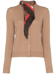 Burberry Scarf Detail Knitted Cashmere Cardigan Neutrals
