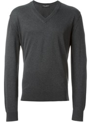 Dolce And Gabbana Fine Knit V Neck Sweater Grey