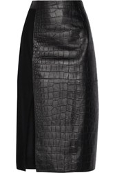 Jason Wu Croc Effect Leather And Wool Midi Skirt Black