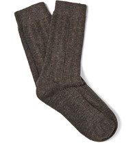 Nn.07 Nn07 Melange Wool Blend Socks Dark Brown
