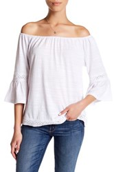 Cable And Gauge Off The Shoulder Bell Sleeve Blouse Petite White