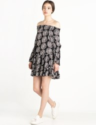 Pixie Market Black Floral Off The Shoulder Dress