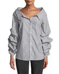 Philosophy Striped Pinned Sleeve Button Front Blouse Blue White