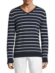 Ag Green Label Farrell Striped Cashmere Blend Tee Blue