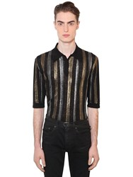 Saint Laurent Striped Linen And Silk Lurex Knit Polo Black