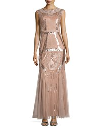 Aidan Mattox Fully Beaded Gown Rose Gold