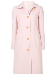 Tory Burch Single Breasted Coat Pink And Purple