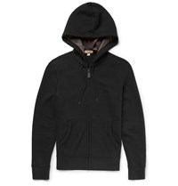 Burberry Slim Fit Stretch Cotton Blend Jersey Hoodie Black