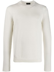 Roberto Collina Long Sleeve Fitted Sweater White