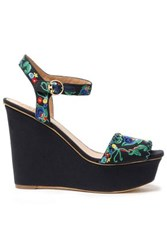 Tory Burch Embroidered Canvas Wedge Sandals Navy