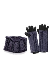 Muk Luks Sprinkled Headband And 3 In 1 Glove Set Gray