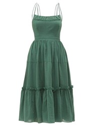 Loup Charmant Alghero Crossed Back Cotton Midi Dress Green