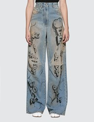 Off White Graffiti Oversize Tomboy Jeans Blue