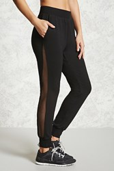 Forever 21 Active Mesh Paneled Joggers Black