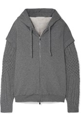 Stella Mccartney Oversized Cotton Jersey And Wool And Alpaca Blend Hooded Top Gray