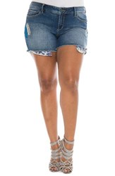 Slink Jeans Plus Size Women's Embroidered Cutoff Denim Shorts Angelina