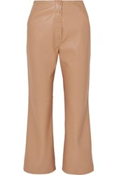 Nanushka Sora Vegan Leather Straight Leg Pants Beige
