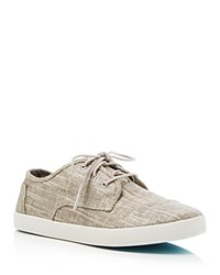 Toms Paseo Metallic Linen Lace Up Sneakers Tan