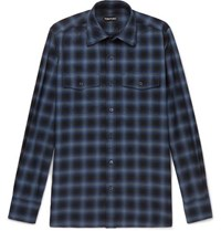 Tom Ford Slim Fit Checked Cotton Shirt Blue