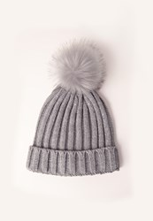 Missguided Metallic Knit Faux Fur Pom Pom Beanie Hat Grey