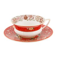 Wedgwood Wonderlust Teacup And Saucer Crimson Orient