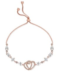 Joan Boyce Rose Gold Tone Crystal Double Heart Slider Bracelet Pink