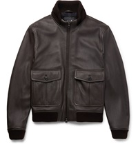 Dunhill Leather Bomber Jacket Brown
