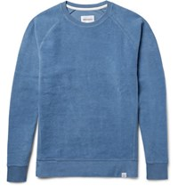 Norse Projects Ketel Brushed Loopback Cotton Jersey Sweatshirt Blue