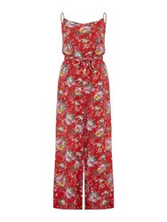 Yumi Flower Print Jumpsuit Red