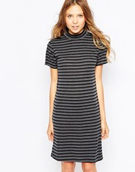 Ichi High Neck Striped Body Conscious Dress Dark Gray Melange
