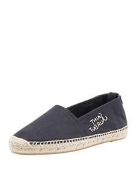 Saint Laurent Logo Stitched Canvas Slip On Espadrilles Black