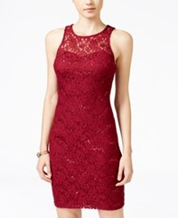 Sequin Hearts Juniors' Lace Lattice Back Bodycon Dress Merlot