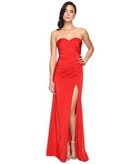 Faviana Faille Satin Strapless W Side Draping 7891 Red Women's Dress