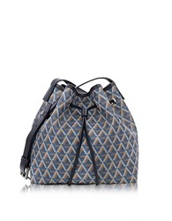 Lancaster Paris Ikon Small Coated Canvas Bucket Bag Blue