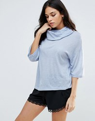 B.Young Kimono Sleeve Roll Neck Top Forever Blue