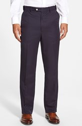 Men's Big And Tall Berle Self Sizer Waist Flat Front Trousers Navy