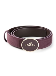 Hogan Logo Enamel Belt Red