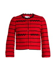 Sonia Rykiel Striped Cotton Blend Tweed Dress Cropped Jacket Red